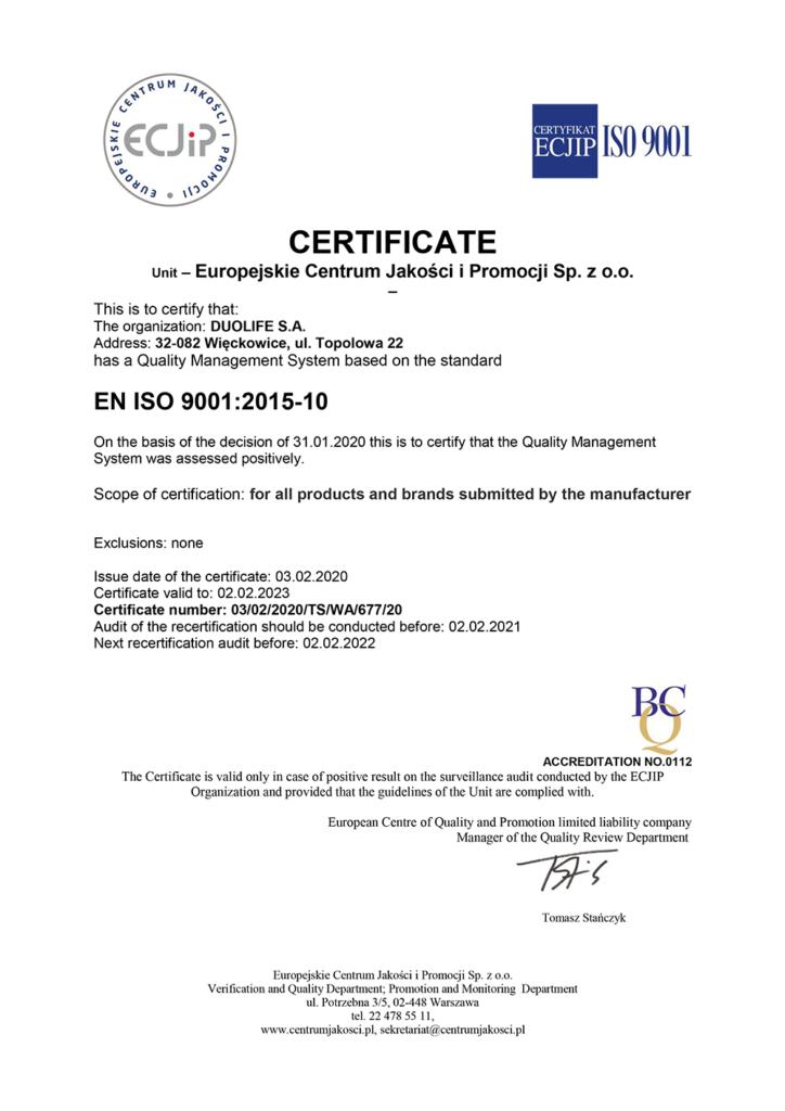 DuoLife 9001 2015 2020 eng